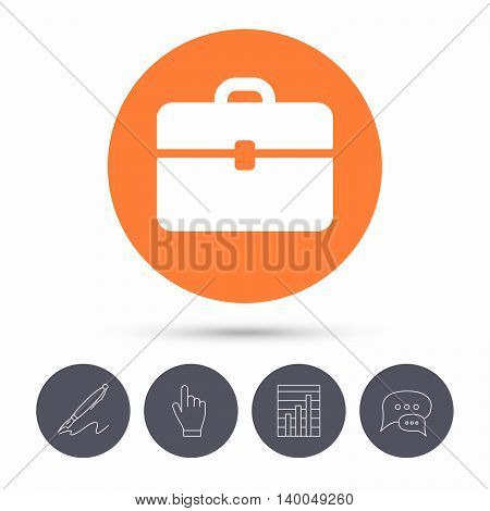Briefcase icon. Diplomat handbag symbol. Business case sign. Speech bubbles. Pen, hand click and chart. Orange circle button with icon. Vector