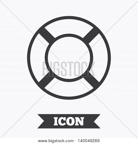 Lifebuoy sign icon. Life salvation symbol. Graphic design element. Flat lifebuoy symbol on white background. Vector
