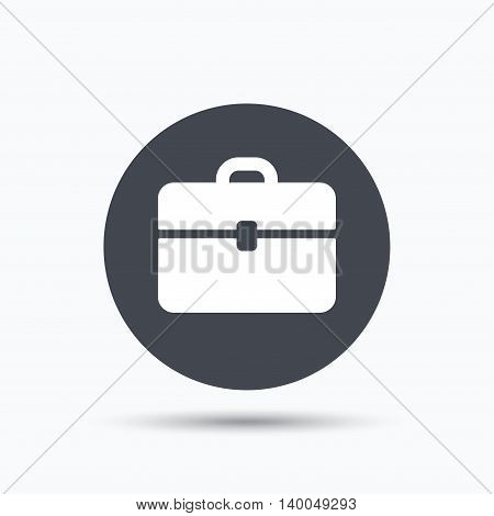 Briefcase icon. Diplomat handbag symbol. Business case sign. Flat web button with icon on white background. Gray round pressbutton with shadow. Vector