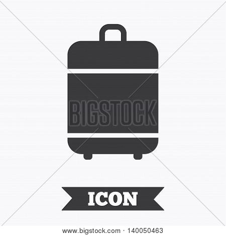 Travel luggage bag icon. Baggage symbol. Graphic design element. Flat luggage symbol on white background. Vector