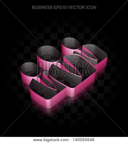 Finance icon: Crimson 3d Business People made of paper tape on black background, transparent shadow, EPS 10 vector illustration.