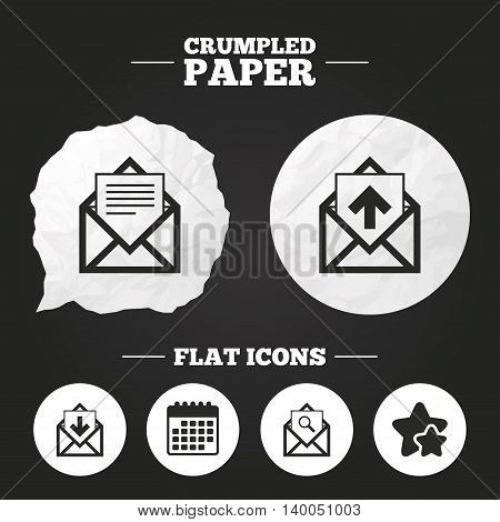 Crumpled paper speech bubble. Mail envelope icons. Find message document symbol. Post office letter signs. Inbox and outbox message icons. Paper button. Vector
