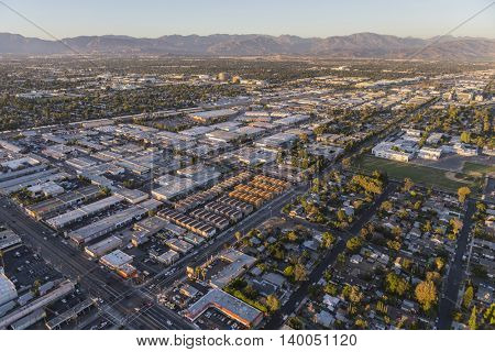 Los Angeles, California, USA - July 21, 2016:  Late afternoon aerial over Saticoy St and Sepulveda Bl in the San Fernando Valley area of Los Angeles.