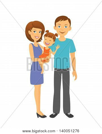 Mother and father with baby. Happy family. Parents with daughter