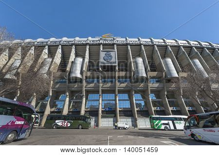 MADRID,SPAIN-MARCH 2016: Street view on Santiago Bernabeu stadium - the official playground of FC Real Madrid