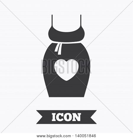Pregnant woman dress sign icon. Maternity with heart clothing symbol Graphic design element. Flat maternity symbol on white background. Vector