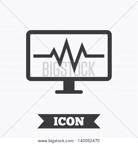 Cardiogram monitoring sign icon. Heart beats symbol. Graphic design element. Flat cardiogram symbol on white background. Vector