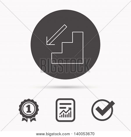 Downstairs icon. Direction arrow sign. Report document, winner award and tick. Round circle button with icon. Vector