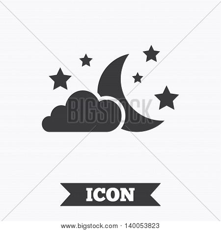 Moon, clouds and stars icon. Sleep dreams symbol. Night or bed time sign. Graphic design element. Flat night symbol on white background. Vector
