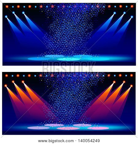 Variants of illumination of a concert scene. Vector illustration