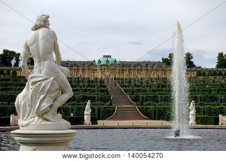 Potsdam, Germany, July 12, 2016: The castle Sanssoucis in Potsdam, Germany.