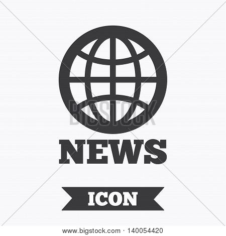 News sign icon. World globe symbol. Graphic design element. Flat news symbol on white background. Vector