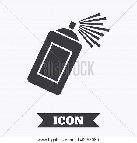 Graffiti spray can sign icon. Aerosol paint symbol. Graphic design element. Flat paint spray symbol on white background. Vector