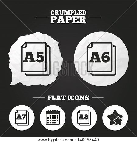 Crumpled paper speech bubble. Paper size standard icons. Document symbols. A5, A6, A7 and A8 page signs. Paper button. Vector