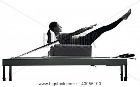 woman pilates reformer exercises fitness isolated poster