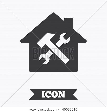 Service house. Repair tool sign icon. Service symbol. Hammer with wrench. Graphic design element. Flat house service symbol on white background. Vector