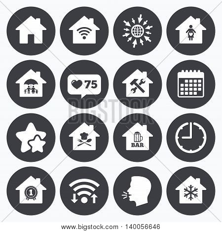 Calendar, wifi and clock symbols. Like counter, stars symbols. Real estate icons. Home insurance, maternity hospital and wifi internet signs. Restaurant, service and air conditioning symbols. Talking head, go to web symbols. Vector