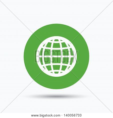 Globe icon. World or internet symbol. Flat web button with icon on white background. Green round pressbutton with shadow. Vector