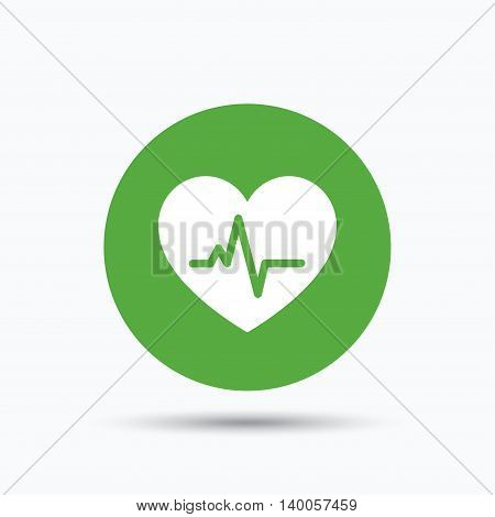 Heartbeat icon. Cardiology symbol. Medical pressure sign. Flat web button with icon on white background. Green round pressbutton with shadow. Vector