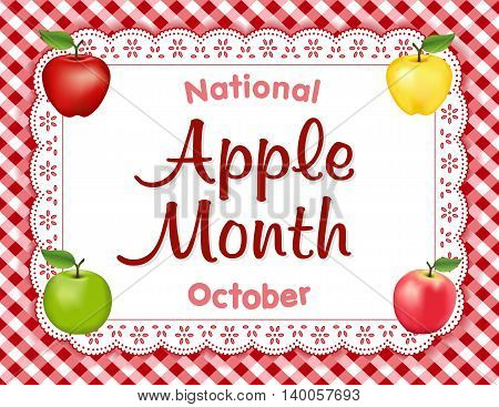 Apple Month, national holiday each October in USA, red and golden Delicious, green Granny Smith and Pink apple fruits on white eyelet lace doily place mat, red gingham check background.