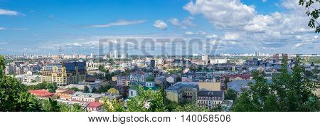 European city panorama. Kiev cityscape of Podol