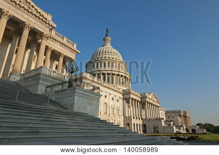 The eastern facade of the US Capitol Building, shortly after dawn.