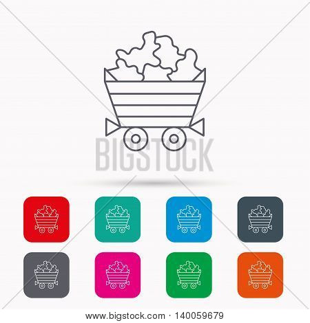 Minerals icon. Wheelbarrow with jewel gemstones sign. Linear icons in squares on white background. Flat web symbols. Vector