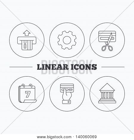 Bank credit card, expired card icons. Give credit card linear sign. Flat cogwheel and calendar symbols. Linear icons in circle buttons. Vector
