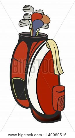 Vector Retro Red Golf Bag Illustration isolated on white background