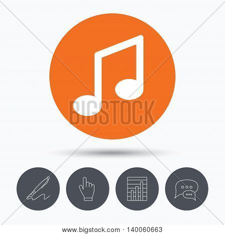 Music icon. Musical note sign. Melody symbol. Speech bubbles. Pen, hand click and chart. Orange circle button with icon. Vector