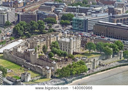 Aerial view of Tower of London - Part of the Historic Royal Palaces housing the Crown Jewels. UK