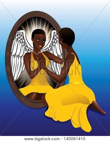 Woman's Reflection Yellow Dress