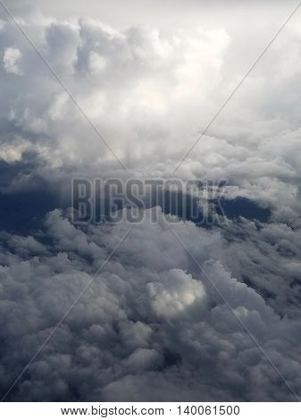 Landscape horizon of clouds viewed from above