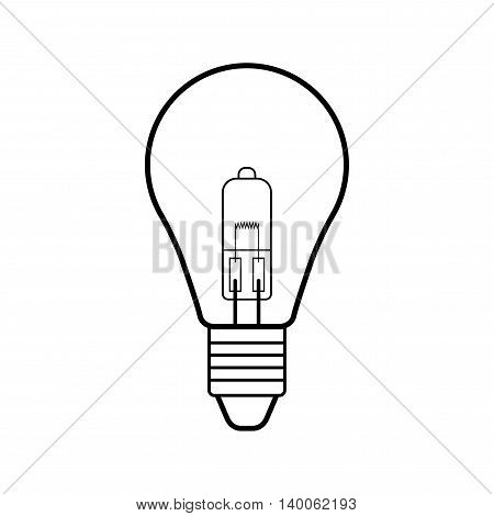 Halogen light bulb. Flat linear icon. Lighting equipment. Energy saving. Vector