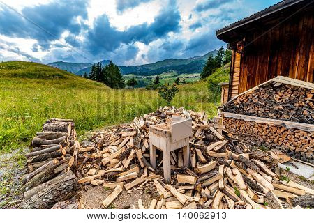 Large view on the woodshed in the mountains