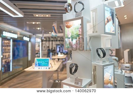 HONG KONG - MAY 12, 2016: inside of a store in Hong Kong International Airport. Hong Kong International Airport is the main airport in Hong Kong. It is located on the island of Chek Lap Kok.