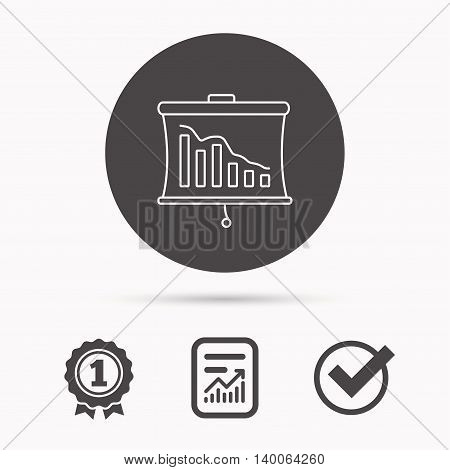 Statistic icon. Presentation board sign. Defaulted chart symbol. Report document, winner award and tick. Round circle button with icon. Vector