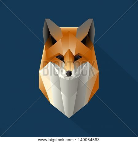 Vector polygon fox illustration. Low poly design. Abstract animal made out of triangles.  Stylized icon concept. Fox symbol for focus, determination, and wisdom.