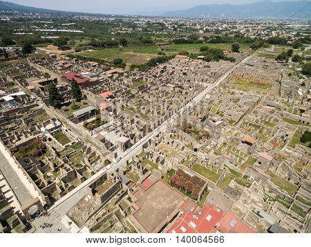 Aerial View of Ruins of Pompeii, Italy