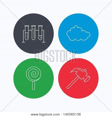 Hammer, lab bulbs and weather cloud icons. Lolly pop linear sign. Linear icons on colored buttons. Flat web symbols. Vector