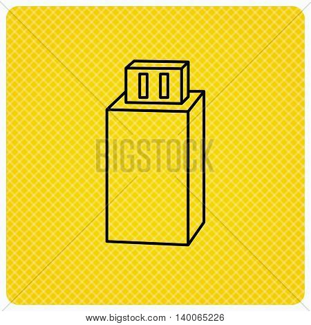 USB drive icon. Flash stick sign. Mobile data storage symbol. Linear icon on orange background. Vector