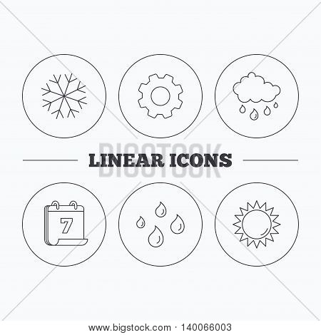 Snowflake, sun and rain icons. Water drops linear sign. Flat cogwheel and calendar symbols. Linear icons in circle buttons. Vector
