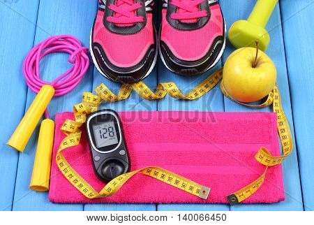 Glucometer, Sport Shoes, Fresh Apple And Accessories For Fitness Or Sport, Copy Space For Text
