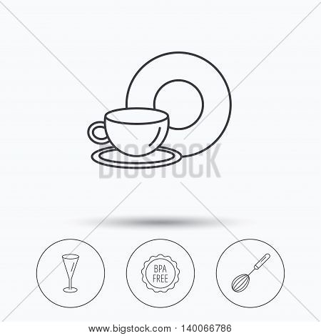 Food and drink, glass and whisk icons. BPA free linear sign. Linear icons in circle buttons. Flat web symbols. Vector