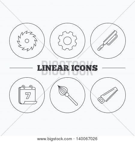 Fretsaw and repair tools icons. Circular saw and brush linear signs. Flat cogwheel and calendar symbols. Linear icons in circle buttons. Vector
