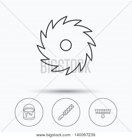File tool, circular saw and brush tool icons. Bucket of paint linear sign. Linear icons in circle buttons. Flat web symbols. Vector