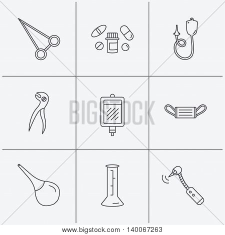 Medical mask, blood and dental pliers icons. Pills, drilling tool and clyster linear signs. Enema, lab beaker and forceps flat line icons. Linear icons on white background. Vector