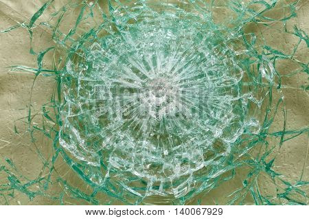Bulletproof Glass After The Shooting With Traces Of Bullets, Test