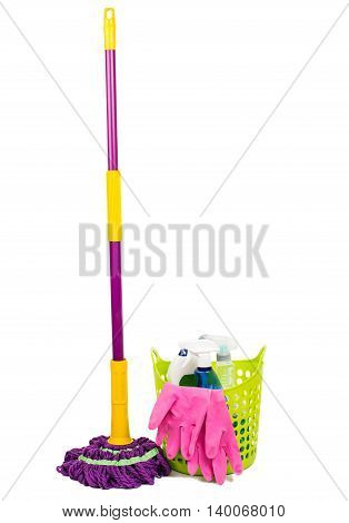 Mop plastic bucket and rubber gloves isolated on white