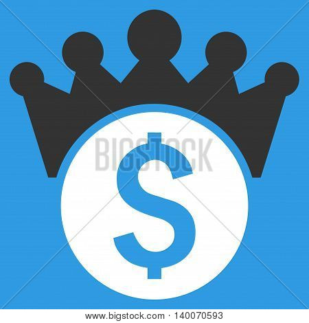 Financial Power vector icon. Style is flat symbol, white color, blue background.